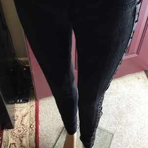 Black Love Sick Jeans With Leather Laced  Up Sides
